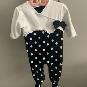 Adorable, polka-dot, one-piece footie